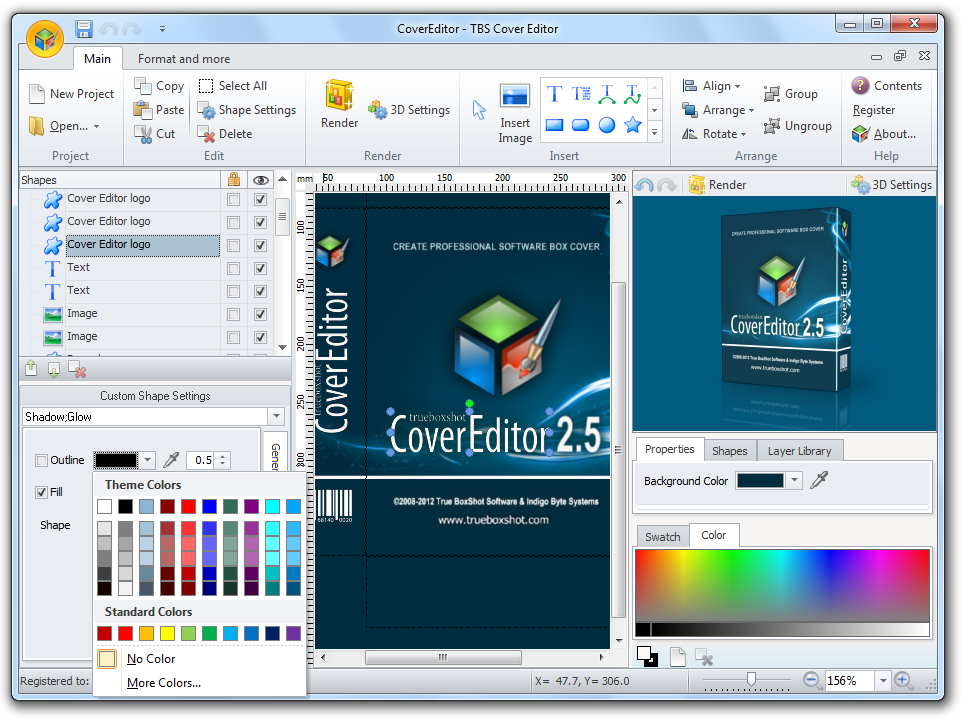 Full featured book and DVD cover creator with 3D rendering and template library.